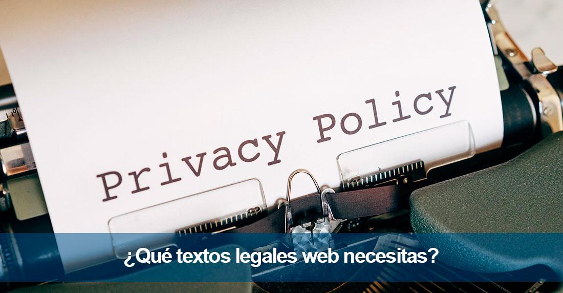 ¿Qué textos legales web necesitas?